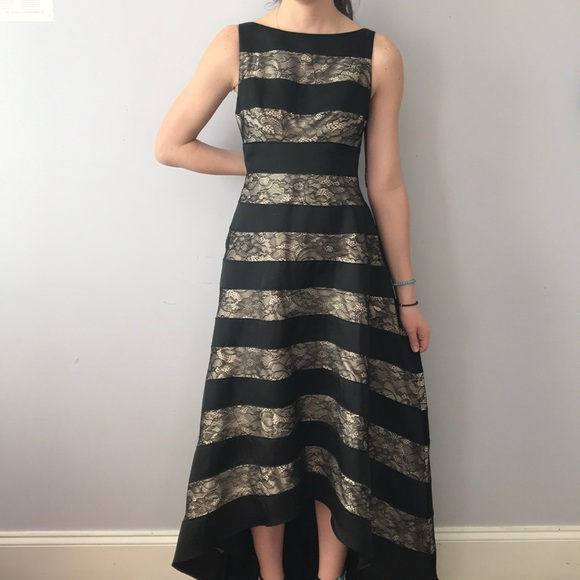 Adrianna Papell Dresses Black And Gold High Low Dress Poshmark